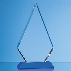 Optical Crystal Facet Diamond Award on an Sapphire Blue Base