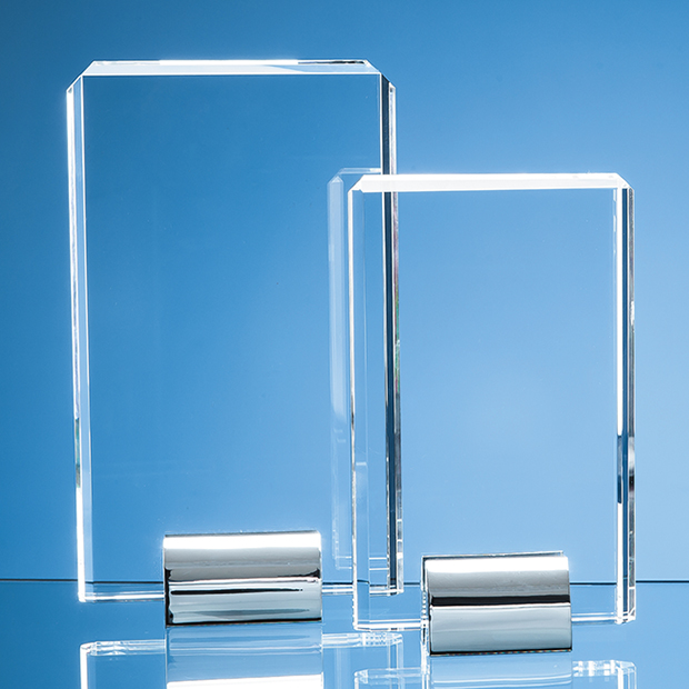 Optical Crystal Rectangle Mounted on a Chrome Stand - SY2001
