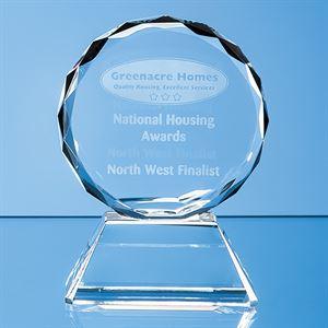 Optical Crystal Mounted Facet Circle Award