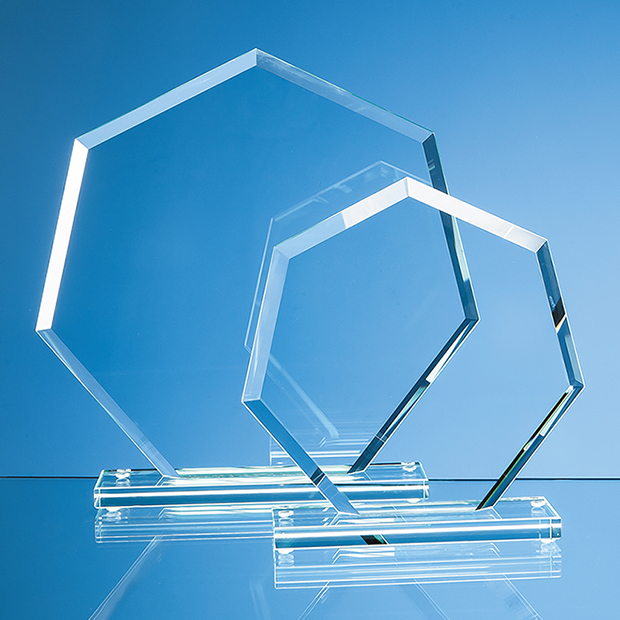 Jade Glass Bevelled Edge Heptagon Award - TL29