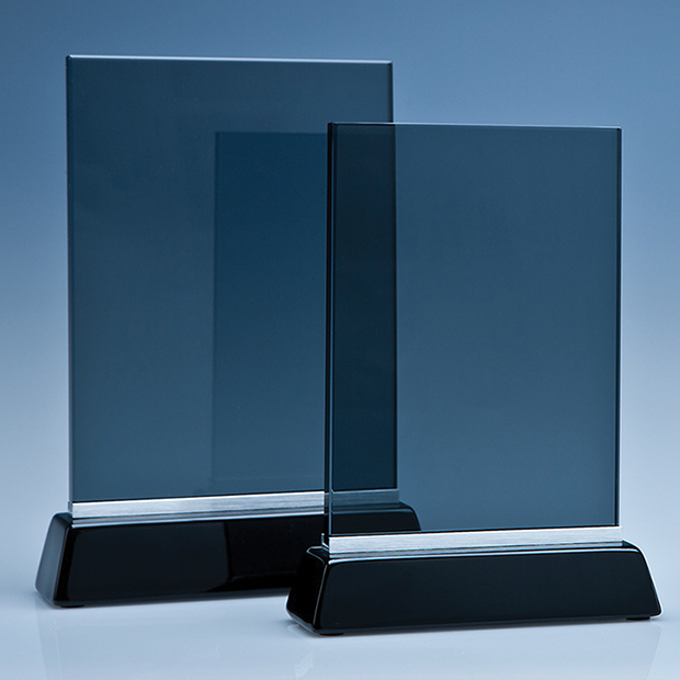 Smoked Glass Rectangle on a Black Base - TZ3712