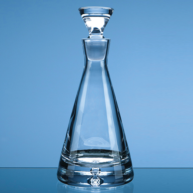 0.37ltr Handmade Bubble Base Pyramid Decanter - L402