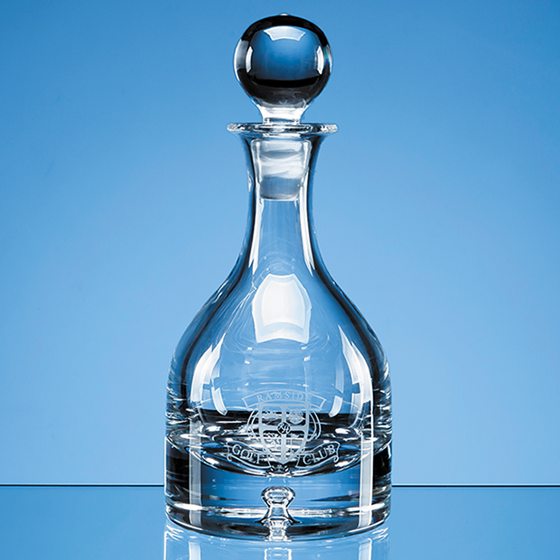 0.75ltr Handmade Bubble Base Round Wine Decanter - L501