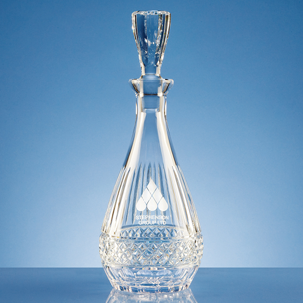 0.75ltr Lead Crystal Oval Wine Decanter - L421