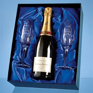 Blenheim Double Champagne Flute Gift Set with 75cl Bottle of Laurent Perrier Champagne