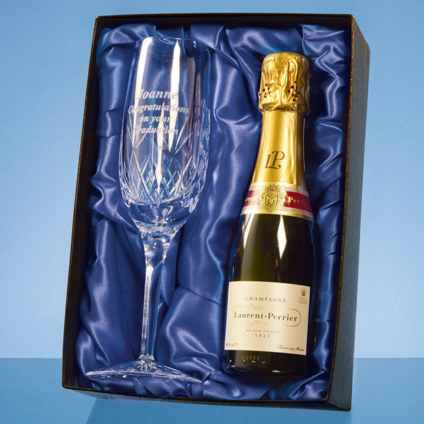 Blenheim Single Champagne Flute Gift Set with 20cl Bottle of Laurent Perrier Champagne - PB202