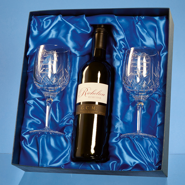 Blenheim Double Goblet Gift Set with a 75cl Bottle of Red Wine - PB210