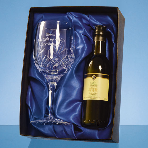 Blenheim Single Goblet Gift Set with a 18.7cl Bottle of White Wine - PB205