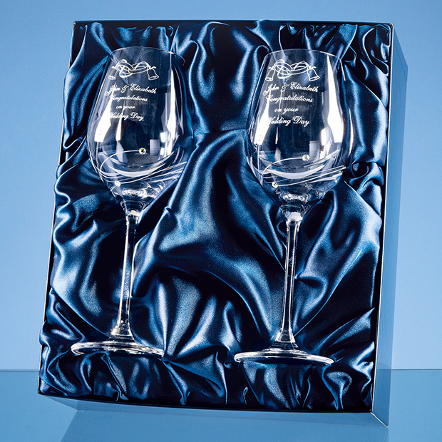 2 Diamante Wine Glasses with Elegance Spiral Cutting in a Satin Lined Gift Box - SL139