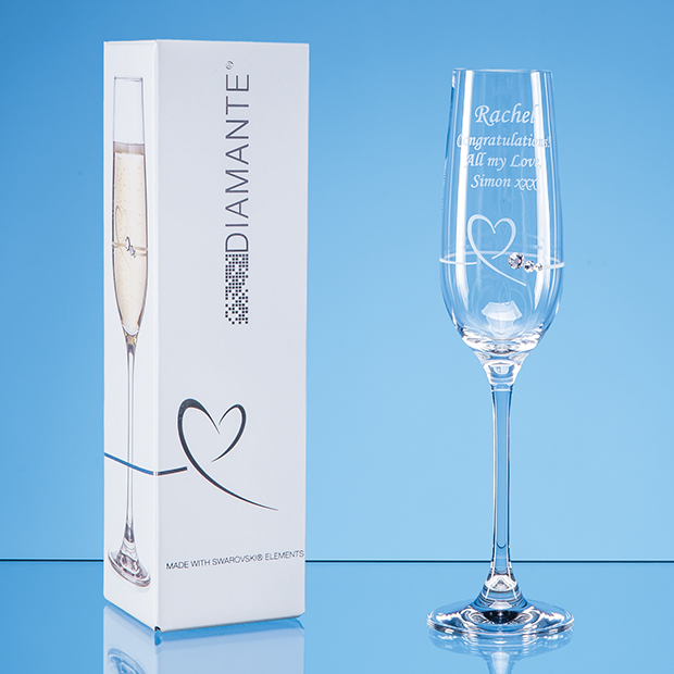 Single Diamante Petit Champagne Flute with a heart design in an Attractive Gift Box - SL601