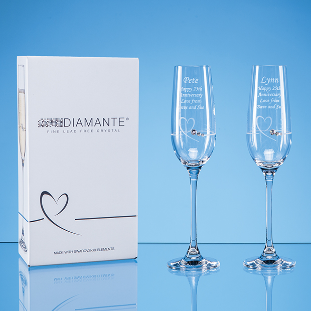 2 Diamante Petit Champagne Flute with a Heart Design in an Attractive Gift Box - SL575