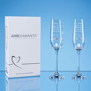 2 Diamante Petit Champagne Flute with a Heart Design