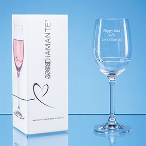 Single Diamante Petit Wine Glass with a Heart Design