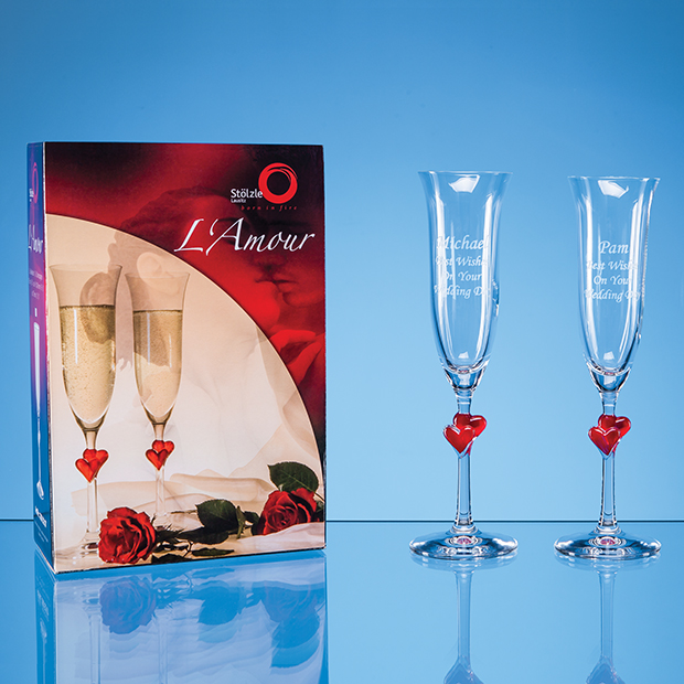 2 L'Amour Red Heart Champagne Flutes in an Attractive Gift Box - STL10