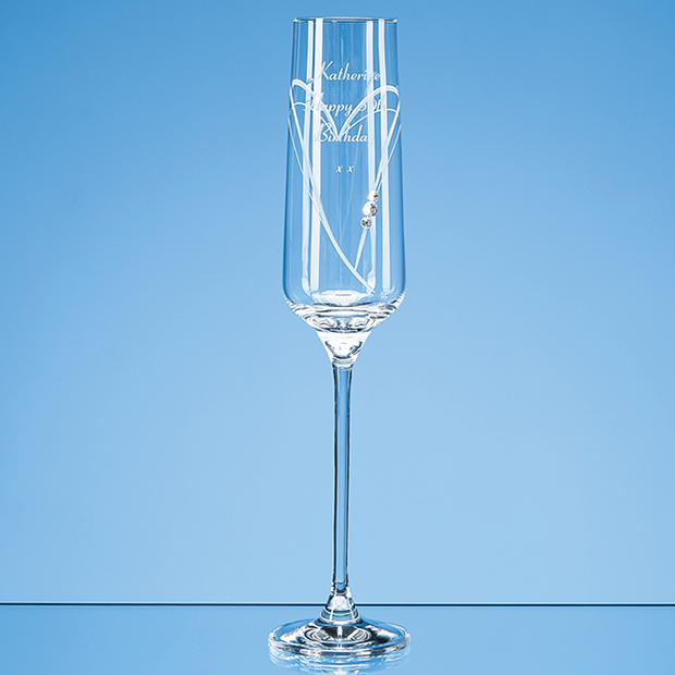 Just For You Diamante Champagne Flute with Heart Shaped Cutting in an Attractive Gift Box - SL516