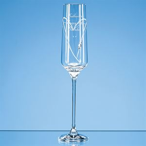 Just For You Diamante Champagne Flute with Heart Shaped Cutting