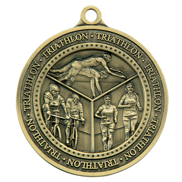 Gold Olympia Triathlon Medal (size: 60mm) - MM17012G