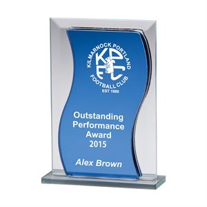 Azzuri Blue Wave Mirrored Glass Award - CR2137