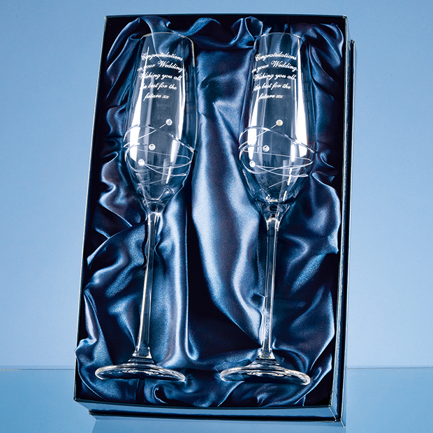 2 Diamante Champagne Flutes with Spiral Design Cutting Gift Set - SL211
