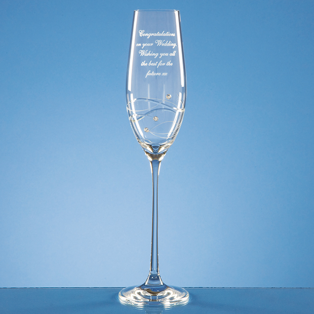Diamante Champagne Flute with Spiral Design Cutting - SL212