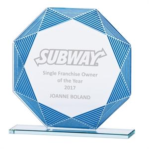 Jade Vortex Glass Award Blue and Silver - CR17095