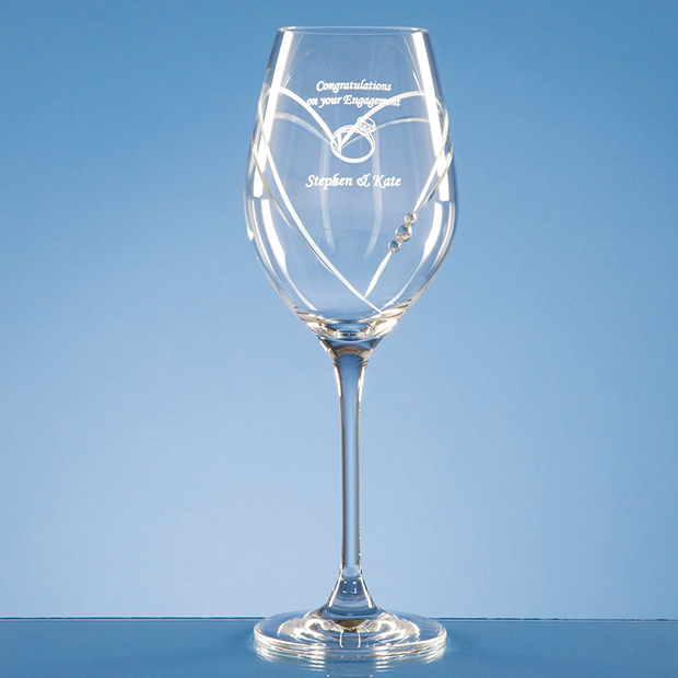 Diamante Wine Glass with Heart Shaped Cutting - SL206