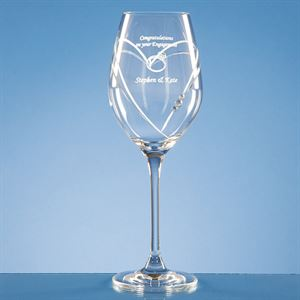 Diamante Wine Glass with Heart Shaped Cutting
