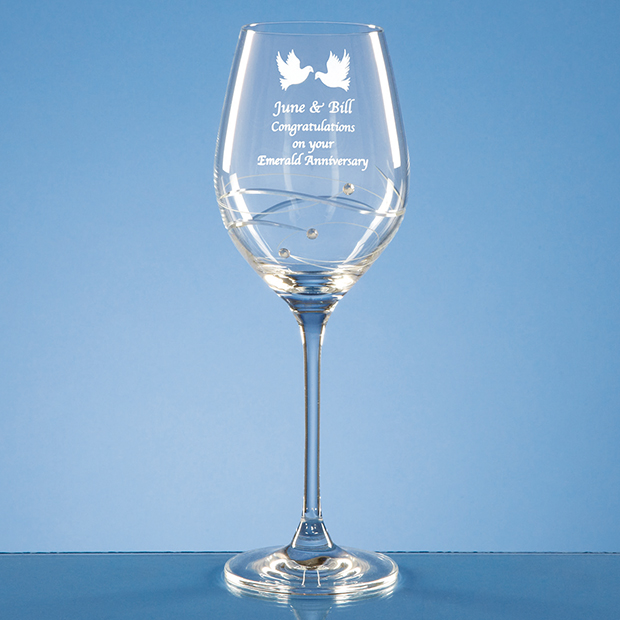 Diamante Wine Glass with Spiral Design Cutting - SL210