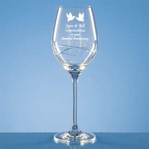 Diamante Wine Glass with Spiral Design Cutting