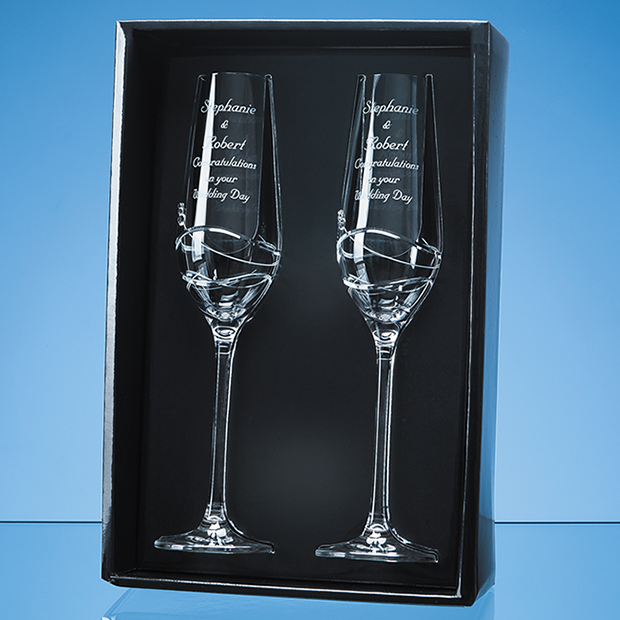 2 Diamante Champagne Flutes with Modena Spiral Cutting Gift Set - SL441