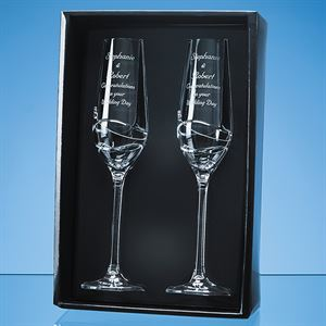 2 Diamante Champagne Flutes with Modena Spiral Cutting Gift Set