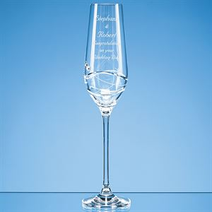 Diamante Champagne Flute with Modena Spiral Cutting