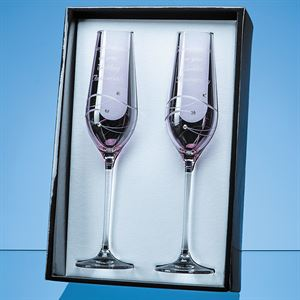2 Pink Diamante Champagne Flutes with Spiral Design Cutting Gift Set - SL562