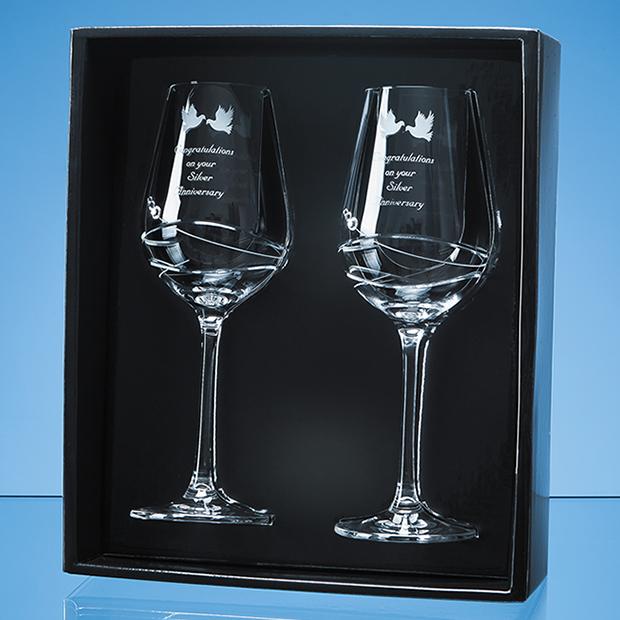 2 Diamante Wine Glasses with Modena Spiral Cutting Gift Set - SL440