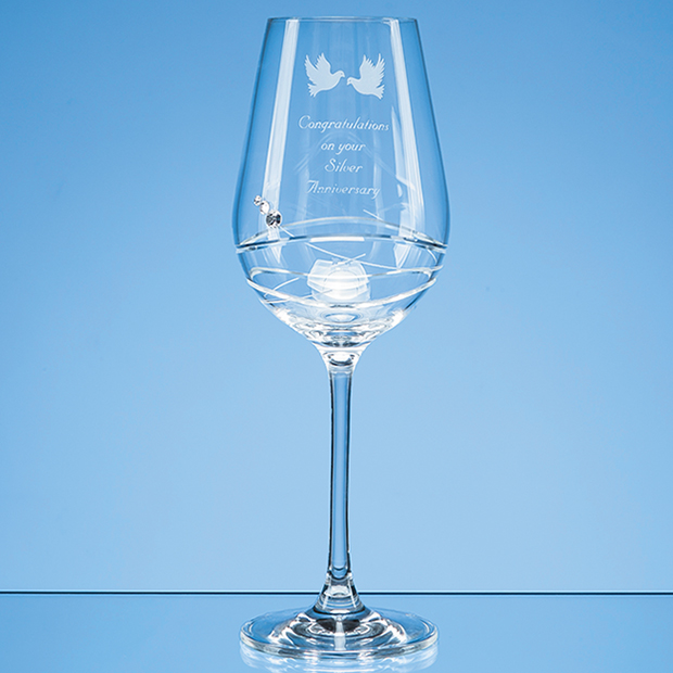 Diamante Wine Glass with Modena Spiral Cutting - SL566