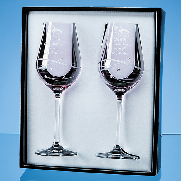 2 Pink Diamante Wine Glasses with Spiral Design Cutting Gift Set - SL564