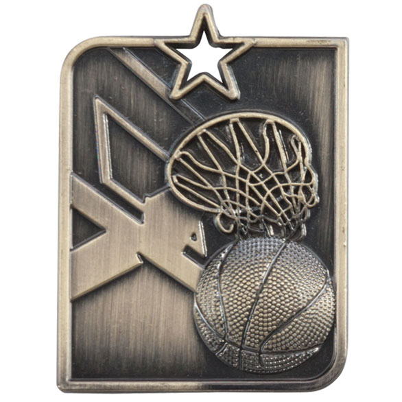Gold Centurion Star Basketball Medal  (size: 53mm x 40mm) - MM15012G