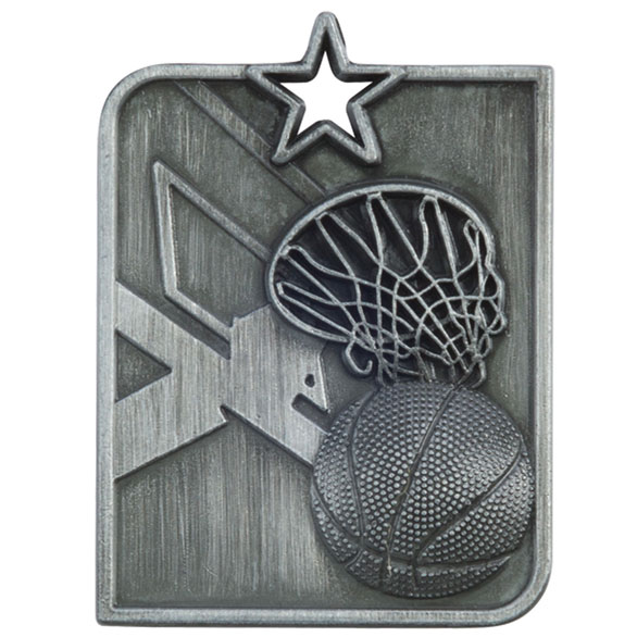 Silver Centurion Star Basketball Medal (size: 53mm x 40mm) - MM15012S