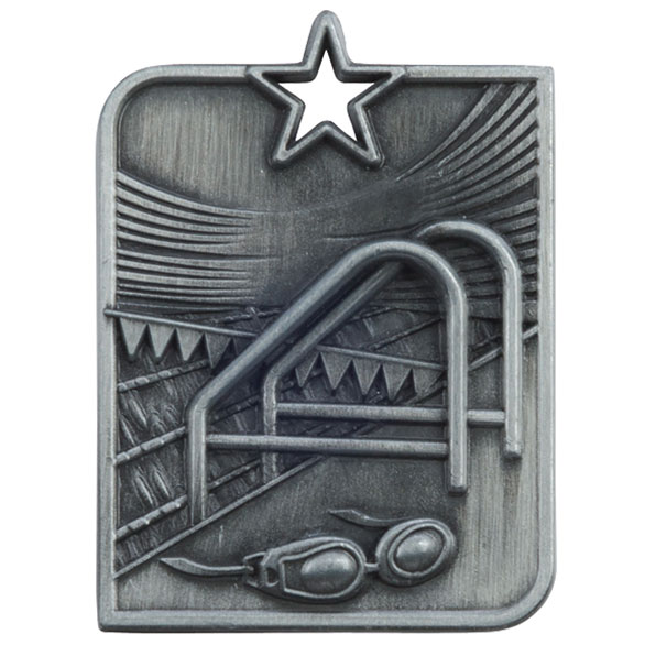 Silver Centurion Star Swimming Medal (size: 53mm x 40mm) - MM15011S
