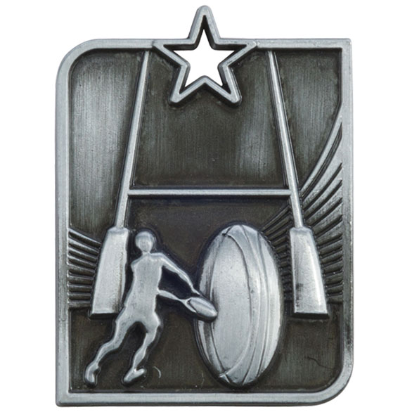Silver Centurion Star Rugby Medal (size: 53mm x 40mm) - MM15008S