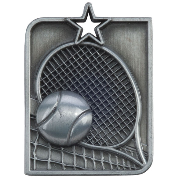 Silver Centurion Star Tennis Medal (size: 53mm x 40mm) - MM15016S