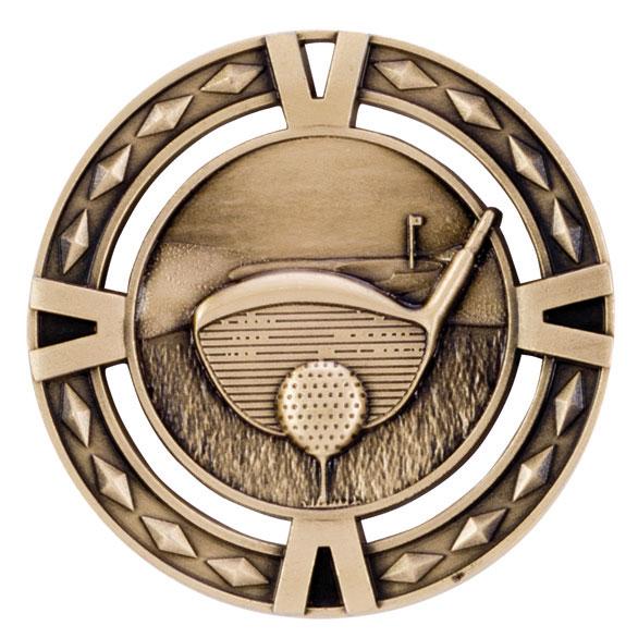 Gold V-Tech Golf Medal (size: 60mm) - MM1032G