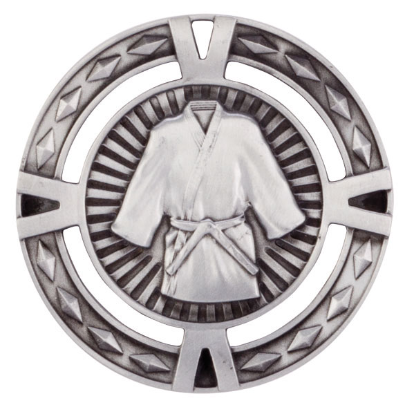 Silver V-Tech Martial Arts Medal (size: 60mm) - MM1029S