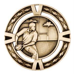 Gold V-Tech Rugby Medal (size: 60mm) - MM1030G