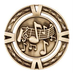 Gold V-Tech Music Medal (size: 60mm) - MM1028G