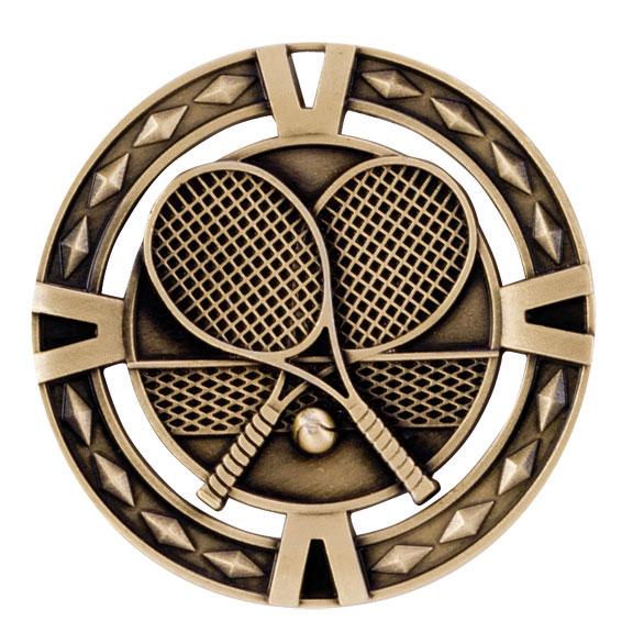 Gold V-Tech Tennis Medal (size: 60mm) - MM1025G
