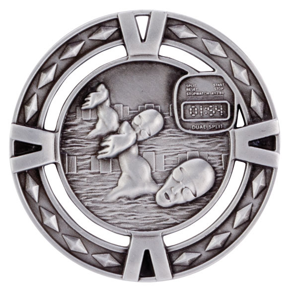 Silver V-Tech Swimming Medal (size: 60mm) - MM1035S