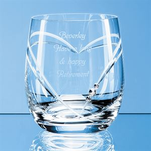 Diamante Whisky Tumbler with Heart Shaped Cutting - SL220
