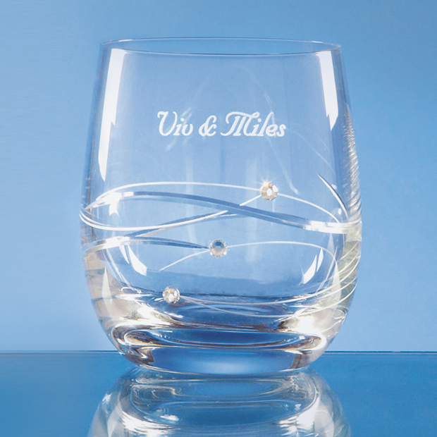 Diamante Whisky Tumbler with Spiral Design Cutting - SL222