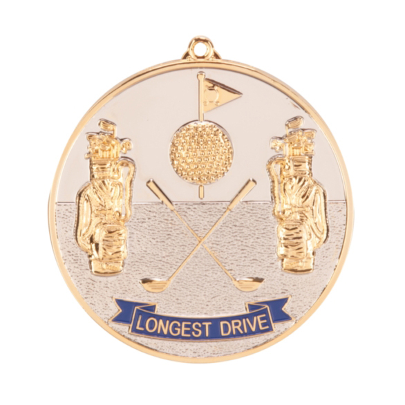 Prestige Longest Drive Golf Medal (size: 70mm) - Gold MM85G